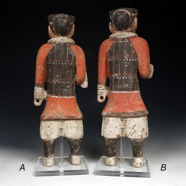 Tall Han Dynasty Pottery Warrior in Armour