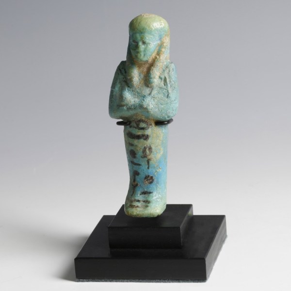 Blue Faience Shabti with Vivid Black Hieroglyphs
