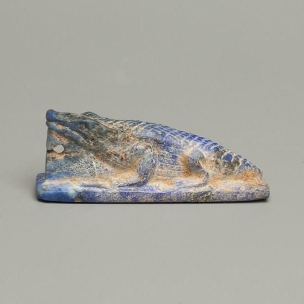Egyptian Lapis Lazuli Crocodile Amulet