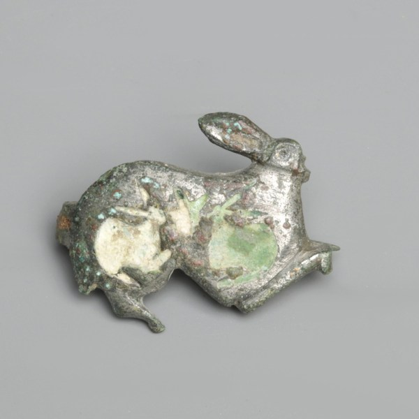 Gallic Roman Rabbit With Young Brooch