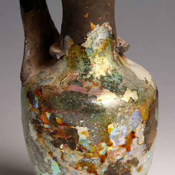 Iridescent Roman Glass Jug with Handle