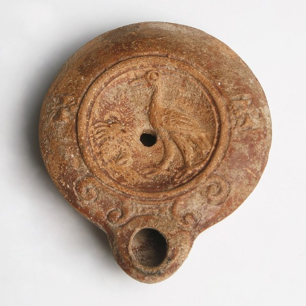 Roman Oil Lamp with Crayfish and Heron