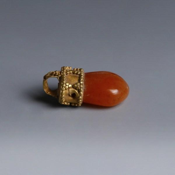 Greek Gold Carnelian Pendant