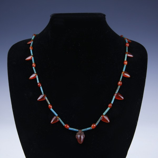 Egyptian Beaded Necklace with Carnelian Heart Amulets