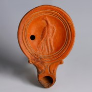 Roman Terracotta Oil Lamp with a Peacock