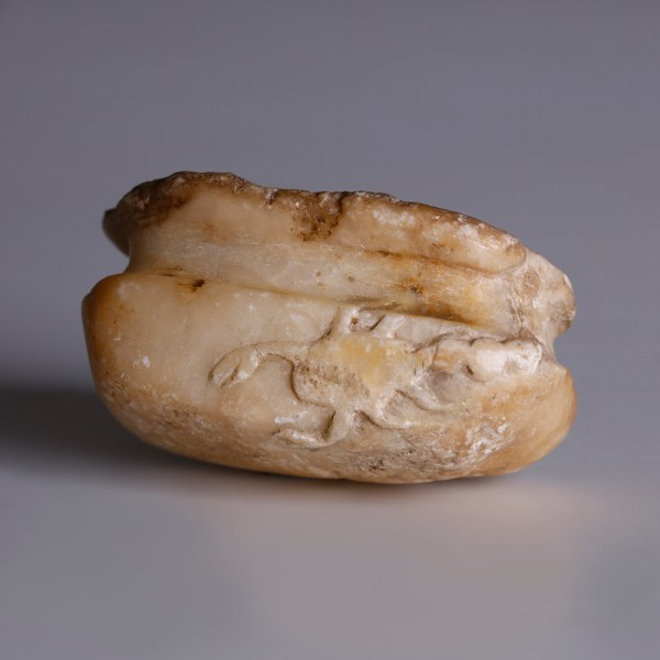 Neo-Assyrian Alabaster Cosmetic Vessel with Scorpion