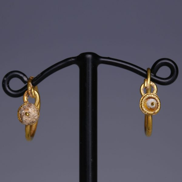 Roman Gold Hoop Earrings with Disks & Glass Beads