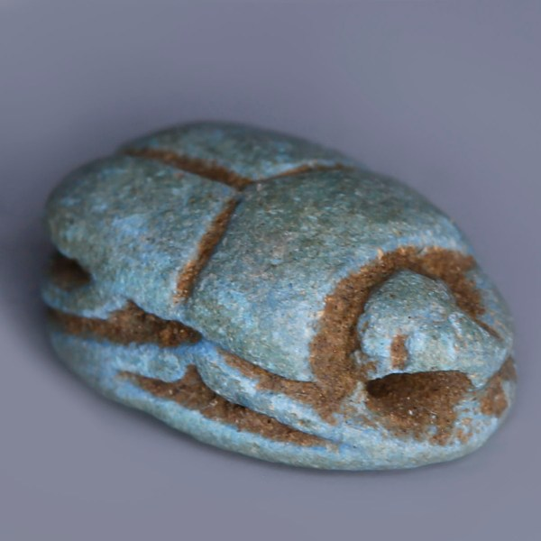 Egyptian Faience Scarab Dedicated to Bastet