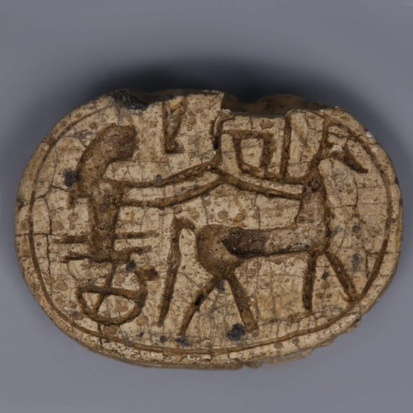 Egyptian Steatite Scarab with a Chariot Scene