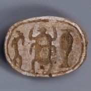 Egyptian Steatite Scarab with Incised Hieroglyphs