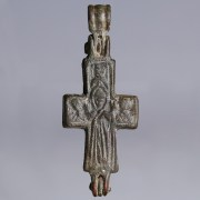 Byzantine Bronze Cross with Mary Theotokos and Corpus Christi