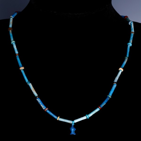 Egyptian Faience Necklace with a Triple Blossomed Faience Flower Amulet