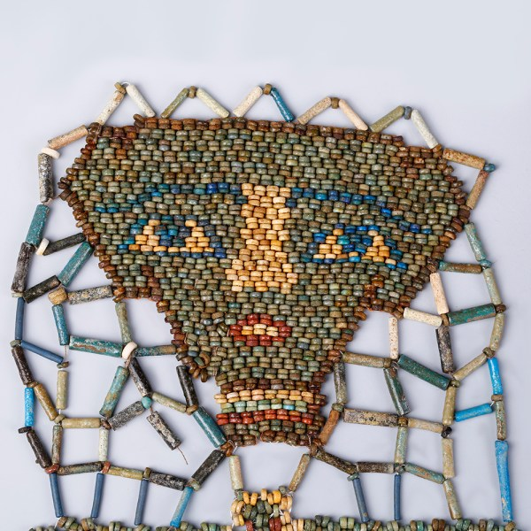 Beaded Mummy Mask with Funerary Face, Four Sons of Horus and Winged Scarab