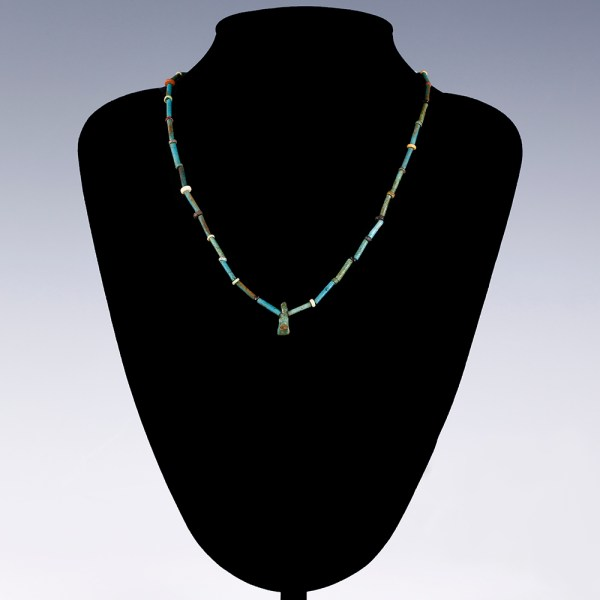 Egyptian Faience Necklace with a Horus Amulet