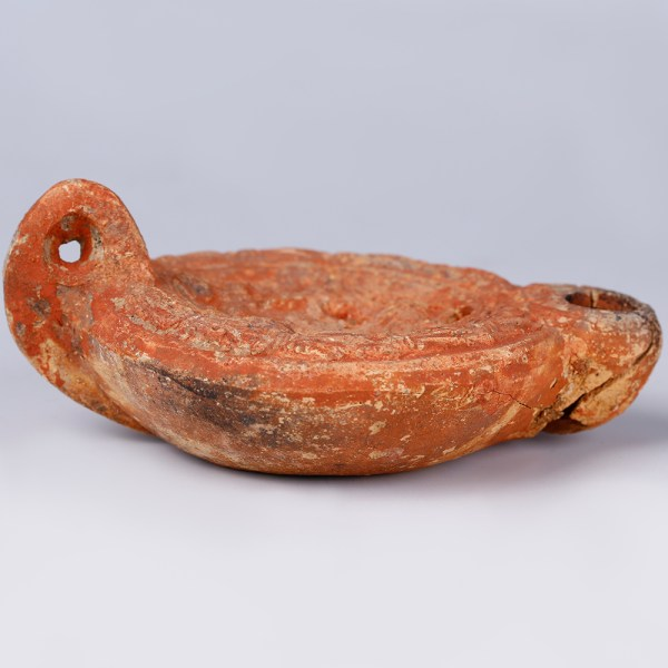 Ancient Roman Terracotta Lamp with Hunting Scene
