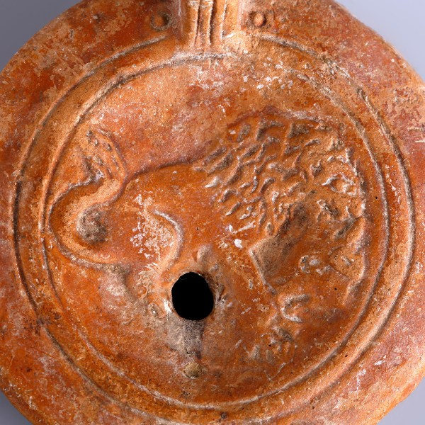 Ancient Roman Terracotta Oil Lamp with Lion