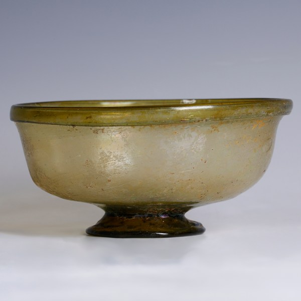 Roman Olive-Green Glass Footed Dish