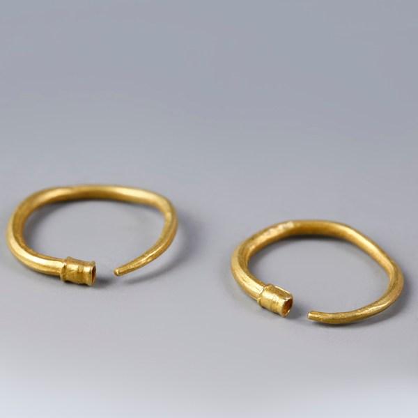Ancient Greek or Persian Gold Penannular Hoop Earrings