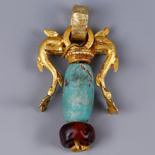 Ancient Greek Gold Pendant with Dolphins