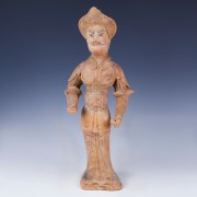Tang Dynasty Polychromatic Statuette of a Warrior