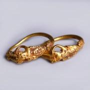 Greek Hellenistic Gold Hoop Earrings with Eros