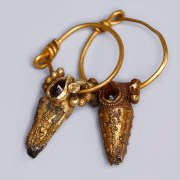 Elaborate Ancient Roman Earrings with Garnet