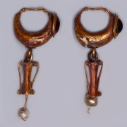 Roman Gold Earrings set with Amphora Shaped Drops and Pearls