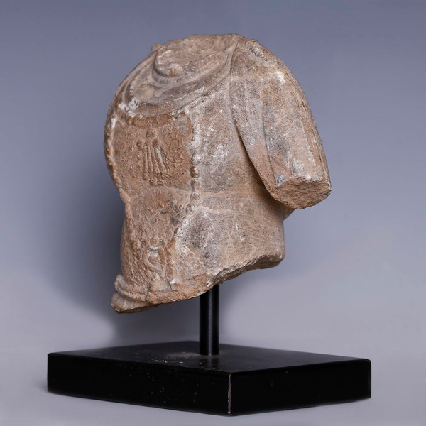 Chinese Grey Stone Fragmentary Torso of Avalokitesvara