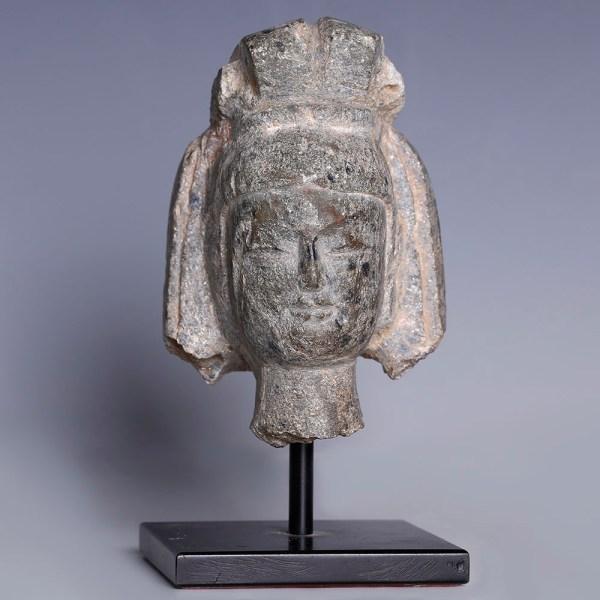 Sui Dynasty-Tang Dynasty Grey Stone Head of a Bodhisattva