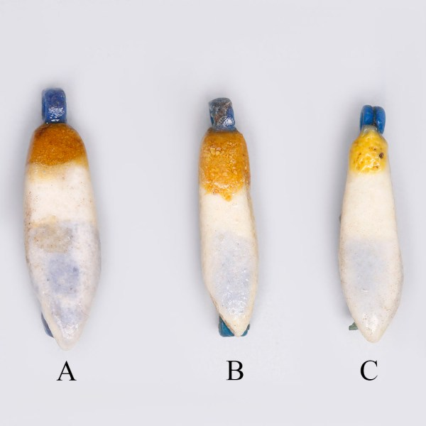 Egyptian Faience White and Yellow Lotus Petal Amulets