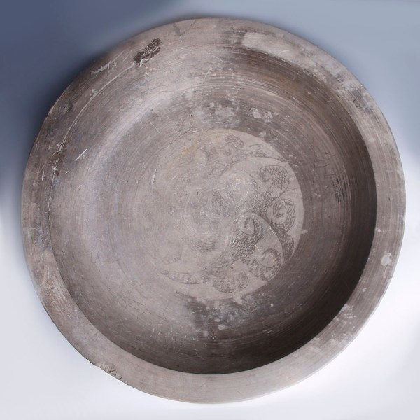 Large Han Dynasty Grey Earthenware Decorated Dish