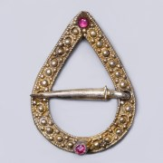 Medieval Silver Brooch with Garnets