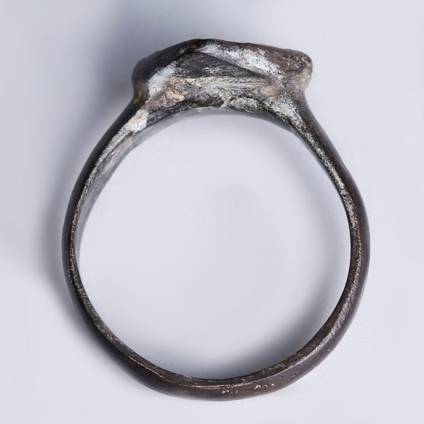 Roman Bronze Ring with Decorated Rhombus Bezel