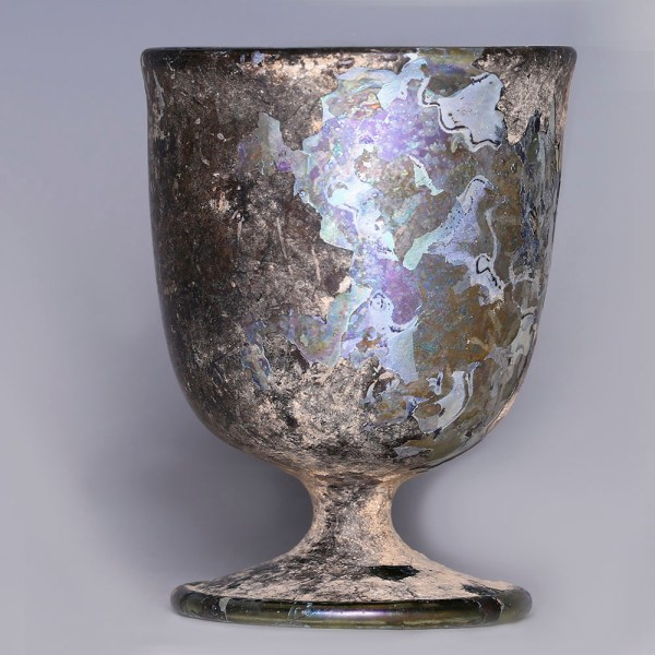 Exceptional Roman Glass Stemmed Cup