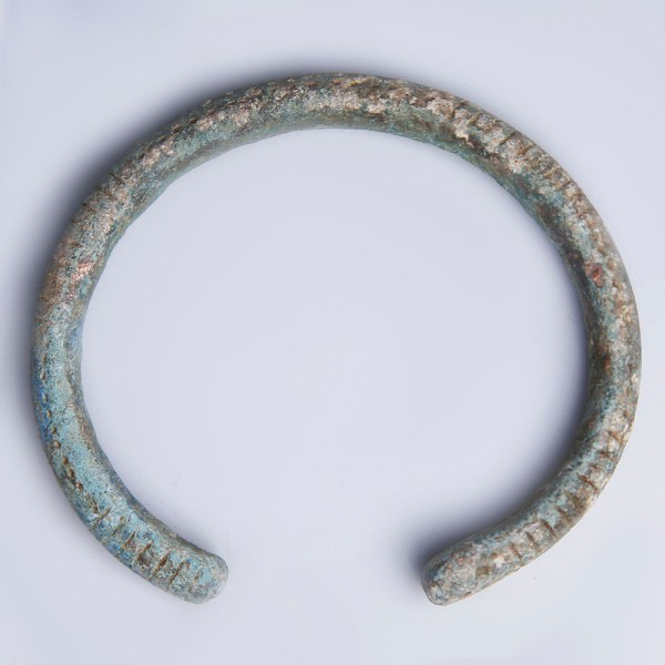 Luristan Bronze Bangle with Decorative Incised Patterns