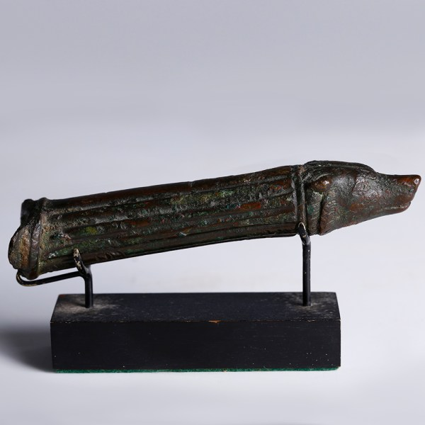Roman Bronze Patera Handle with Wolf