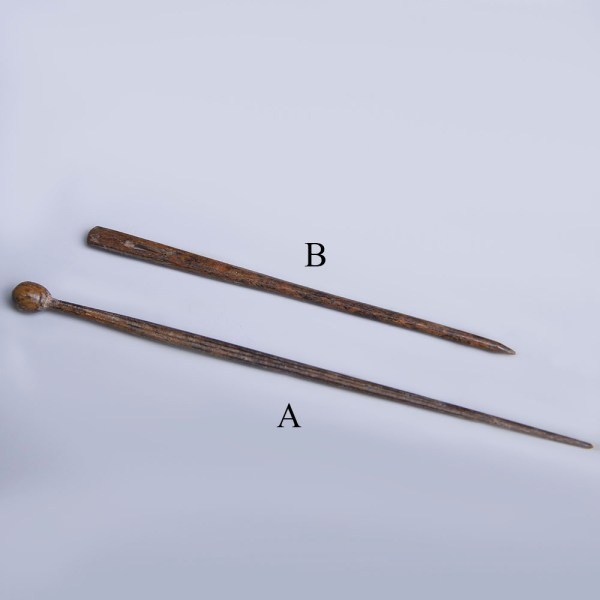 Selection of Ancient Roman Carved Bone Hair Pin and Wool Needle