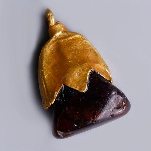 Viking Elf Shot Pendant with Garnet Stone