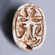 Egyptian Hyksos Period Scarab with a Falcon and Uraei