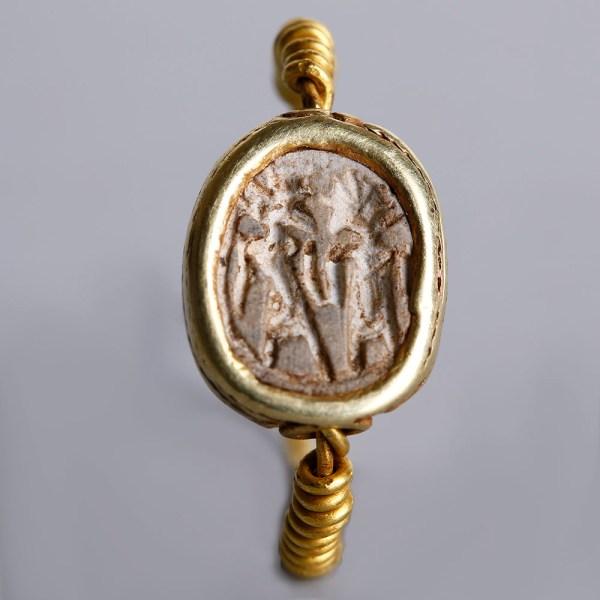 Egyptian Scarab Gold Swivel Ring