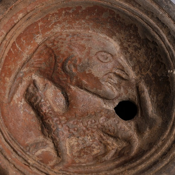 Roman Terracotta Oil Lamp with Dionysus, Panther and Phallus