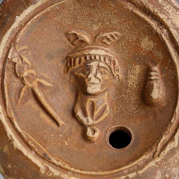 Roman Terracotta Oil Lamp with Mercury