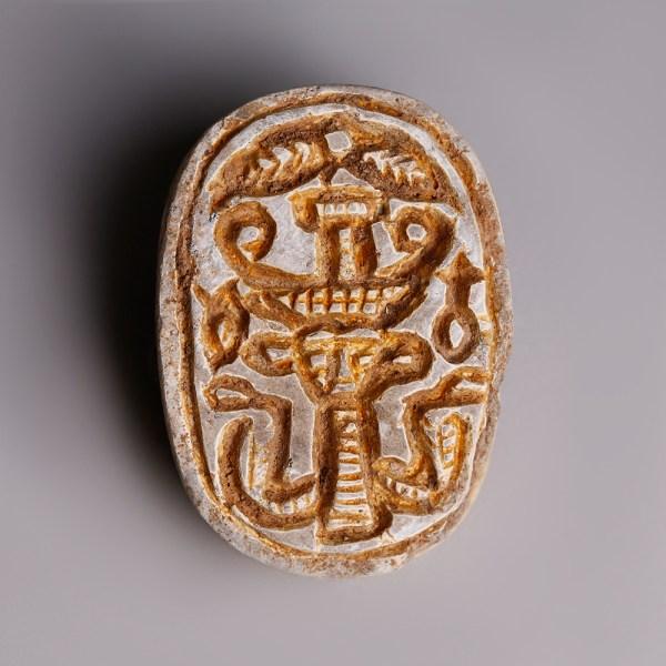 Egyptian Steatite Janiform Scaraboid from the Hyksos Period