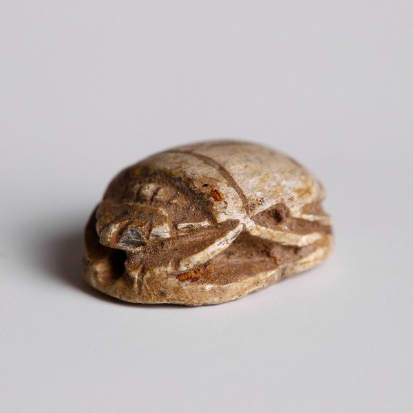 Egyptian Steatite Scarab with a Vulture and Uraeus