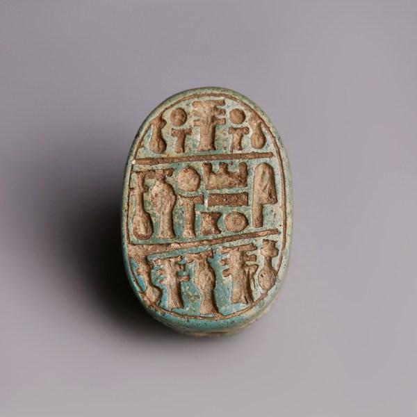 Egyptian Turquoise Faience Scarab Dedicated to Amun-Ra