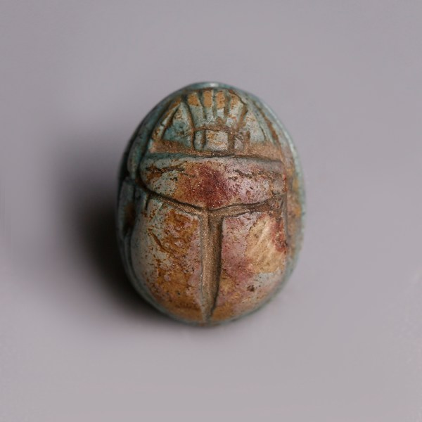 Egyptian Turquoise Glazed Steatite Scarab dedicated to Amun-Ra