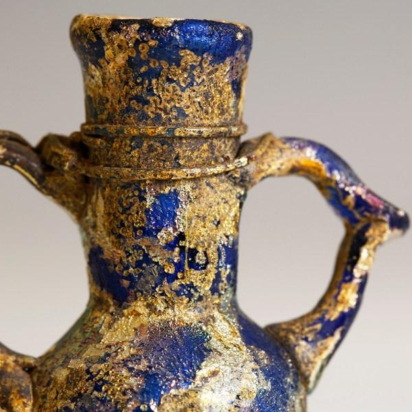 Ancient Roman Blue Glass Amphoriskos