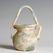 Ancient Roman Glass Jar with Basket Handle