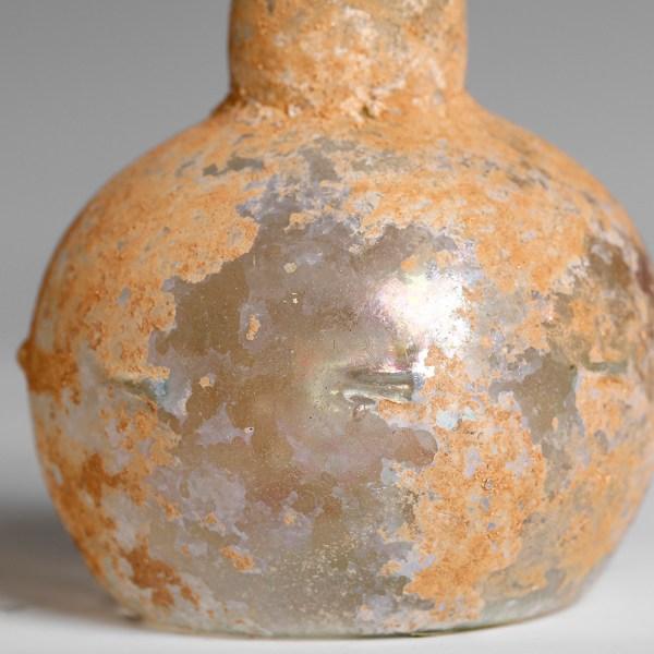 Ancient Roman Pale Blue Glass Flask