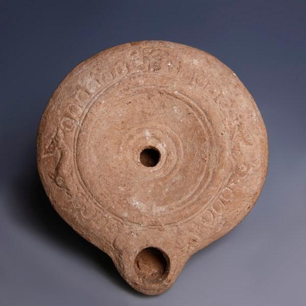 Circular Ancient Roman Terracotta Oil Lamp